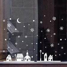 Diy Snowflake Town Christmas Wall Stickers Winter Shop Window Decal Ids Room Christmas Decorations New Year Supplies 38 Wall Stickers Aliexpress