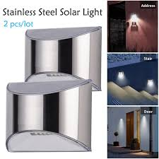 2pcs Security Solar Wall Lights Outdoor Solar Fence Post Step Lights Weatherproof Stainless Steel For Garden Pathway Fence Deck Step Shopee Philippines