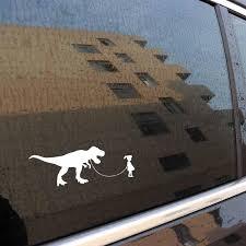 Vinyl Girl Walking Dinosaur Car Decal