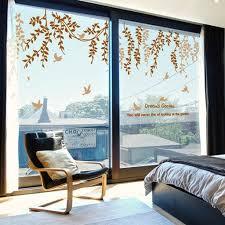 Hanging Green Wicker With Birds Glass Door Stickers Custom Vinyl Wall Decals Shop Window Decor Romantic Elegant Osier Wall Art Living Room Thefuns On Artfire