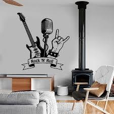 Rock N Roll Wall Decal Music Rock Guitar Microphone Bar Music Room Interior Decor Vinyl Wall Sticker Mural Art Cool A4 058 Wall Stickers Home Garden Aliexpress