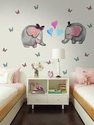 Kids Cute Elephant And Little Butterfly Wall Decal Sticker Wall Decals Wallmur