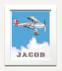 Kids Personalized Art Airplane Wall Art Boy Nursery Decor Transportation Theme Boys Room Art Airplane