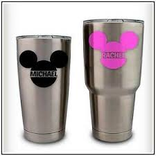 Name Monogram Mickey Ears Decal Initial Sticker Compatible With Yeti Disney Ebay