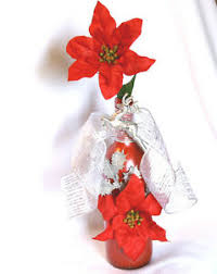 silver ribbon red poinsettia