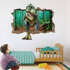 3d Jurassic Park World Dinosaur Break Wall Stickers Bedroom Home Decor Vivid Wall Decals Pvc Mural Art Decorations Sale Up To 70 Stickersmegastore Com