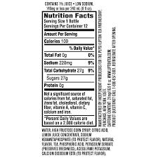 lipton iced tea nutrition label