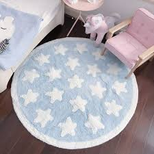 Amazon Com Plush Cotton Nursery Rugs For Boys And Girls Super Soft Playtime Collection Baby Crawling Play Mat Kids Teepee Tent Game Carpet White Star Blue Fluffy Rugs Round 43 Baby