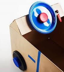 diy cardboard box steering wheel car