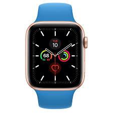 Apple Watch Series 5 GPS, 44mm Gold Aluminum Case with Surf Blue Sport Band  - Regular - Apple