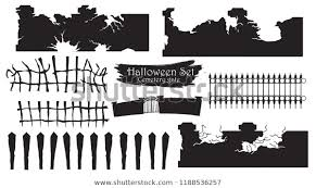 Spooky Cemetery Gate Silhouette Collection Halloween Stock Vector Royalty Free 1188536257