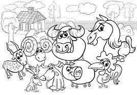 Boerderij Dieren Cartoon Kleurplaat Premium Vector