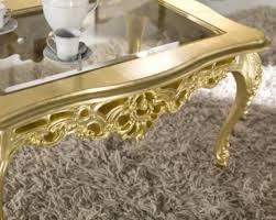 Luxus Couchtisch Gold Glas