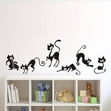Lovely 6 Black Cute Cats Wall Sticker Moder Cat Wall Stickers Girls Vinyl Home Decor Cute Cat Living Room Children Room Wish