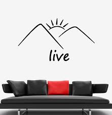 Wall Decal Nature Mountains Sun Landscape Word Live Vinyl Sticker Ed1 Wallstickers4you