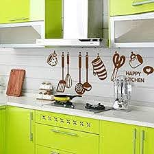 Atiehua Wall Stickers Happy Kitchen Tools 3d Effect Kitchen Wall Stickers Glove Cup Scissors Food Fruit Wall Decals Mural Poster Amazon Com