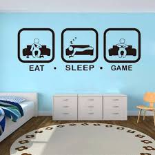 Poomoo Decals Eat Sleep Game Wall Decal Gaming Joystick Playing Sticker Wall Decal Gaming Decor Gamer Ps4 Geek Wall Art Sticker Zonedealer