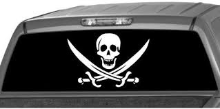 Amazon Com Motorink Pirate Flag Rear Window Graphic Decal Tint Sticker Truck Suv Ute Automotive