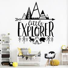 Nordic Little Explorer Vinyl Stickers Quotes For Kids Room Decor Adventure Wall Decals Decoration Boys Nursery Woodland Mural Wall Stickers Aliexpress