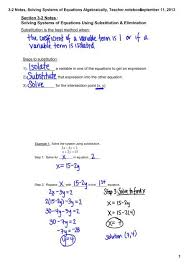 3 2 notes solving systems of equations