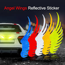 Safety Warning Reflective Car Sticker Angel Wings Reflective Warning Sign Funny Bike Decal Sticker Motorbike Reflective Sticker Car Stickers Aliexpress