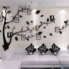 Amazon Com Abia Large Tree Wall Sticker Family Tree Wall Decals Diy Photo Tree Huge 3d Crystal Acrylic Art Wall Background L Black Left Home Kitchen