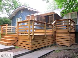 This Cute Cottage In Nashville 39 S Melrose Neighborhood Had Already Been Remodeled When The Homeowners Deck Railing Design Wooden Deck Designs Deck Skirting
