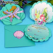 Tarjetas De Invitacion De Decoracion De Fiesta De Sirena Ourwarm