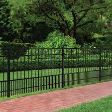 Ironcraft Chatham Chatham 5 Ft H X 6 Ft W Black Aluminum Flat Top Yard In The Metal Fence Panels Department At Lowes Com