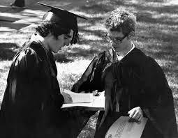 Peter Gilbert and John Wilson in Academic Robes on Front Campus, Annapolis,  Maryland, 1981 · St. John's College Digital Archives