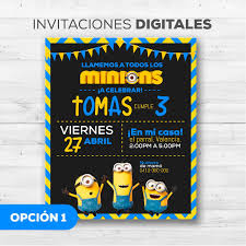 Tarjetas Invitacion De Los Minions Whatsapp Digitales Bs 500