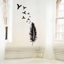 Feather Wall Sticker Birds Wall Decal Modern Vinyl Wall Art Removable Wall Decoration Feather Wallpaper Sale Price Reviews Gearbest