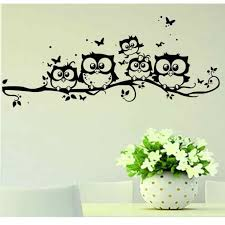 Cartoon Owl Family On Tree Wal Sticker Black Tree Branch Butterfly Owls Decal Removable Sticker For Kids Room Decoration Sticker For Kids Room Stickers Forowl Decal Aliexpress