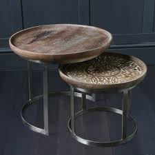 tables with carved hard wood table tops