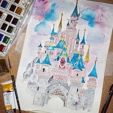 disney land watercolour disney princess