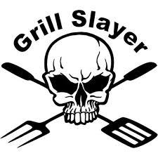 Amazon Com Grill Slayer Bbq Skull Death Vinyl Graphic Car Truck Windows Decor Decal Sticker Die Cut Vinyl Decal For Windows Cars Trucks Tool Boxes Laptops Macbook Virtually Any Hard Smooth