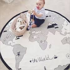 135cm Kids Baby Infant Play Crawling Explore Canvas Mat Children World Map Game Carpet Home And Living Room Decoration Floor Rug Wish