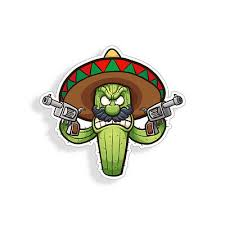 Angry Cactus Sticker Mexican Sombrero Pistol Car Cup Laptop Window Bumper Decal 2 95 Picclick