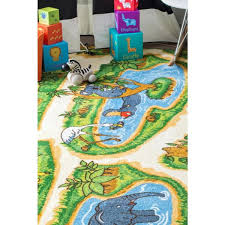 Nuloom Zoo Animals Playmat Green 5 Ft X 8 Ft Area Rug Mcgz16a 5075 The Home Depot