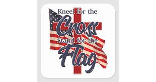 Kneel For The Cross Stand For The Flag Sticker Zazzle Com