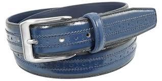 men s navy blue leather dress belt