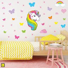 Rainbow Horn Unicorn Wall Stickers Get Sticking
