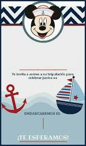 Tarjeta Invitacion Cumpleanos Marinero Mickey Marinero
