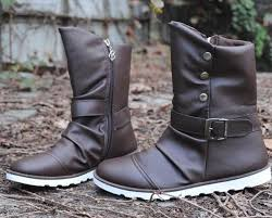 fashion waterproof tall leather boots
