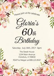 60th Birthday Invitation Women Birthday Invitation Pink Floral