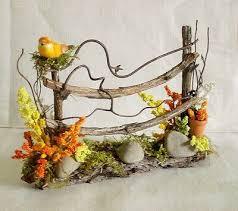 Fairy Garden Doll House Miniature Twig Fence Flowers Yellow Bird Pot Spring Ebay