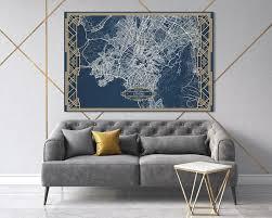 athens greece map art deco large