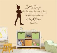 Amazon Com Wall Sticker Decal Mural Window Vinyl Decal Quote Art Peter Pan Quote Little Boys Should Never Be Sent To Bed They Always Wake Up A Day Older For Nursery Kids Room