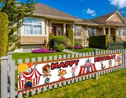 Colormoon Circus Birthday Banner Large Circus Party Decorations Carnival Birthday Party Decorations Supplies 9 8 X 1 5 Feet Amazon In Toys Games
