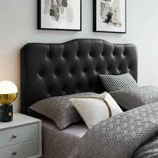 headboard full black tufted on faux
